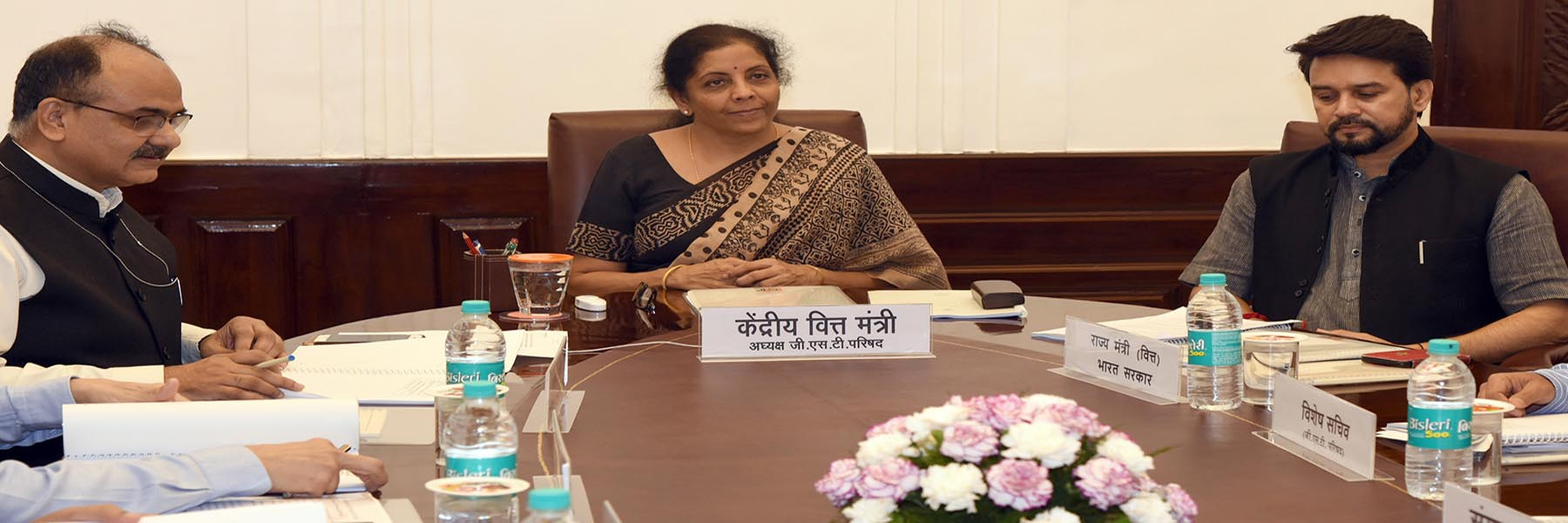 The Union Minister for Finance and Corporate Affairs, Smt. Nirmala Sitharaman chairing the 36th GST Council meeting, in New Delhi on July 27, 2019.