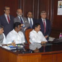The Union Finance Minister Shri P. Chidambaram giving final touches from his desktop to the General Budget 2006-07, in New Delhi on February 27, 2006. The Minister of State (Revenue) Shri. S.S. Palanimanickam and the Minister of State (E,B&I) Shri Pawan Kumar Bansal and Secretaries of the Ministry are also seen