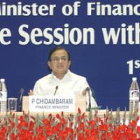 The Union Finance Minister, Shri P. Chidambaram at the Post-Budget Interactive Session with Industry Associations, in New Delhi on March 1, 2006. The Minister of State (Revenue) Shri. S.S. Palanimanickam and the Minister of State (E,B &I) Shri Pawan Kumar Bansal are also seen