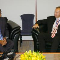 The Minister for Revenue and Assistant Treasurer of Australia, Mr. Peter Dutton meets the Union Minister for Finance Shri P. Chidambaram, at 39th Annual General Meeting of Board of Governors of Asian Development Bank in Hyderabad on May 6, 2006
