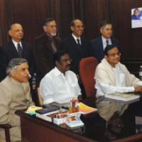 The Union Finance Minister Shri P. Chidambaram giving final touches to the General Budget 2008-09, in New Delhi on February 28, 2008.The Minister of State (Revenue) Shri. S.S. Palanimanickam, the Minister of State (E,B&I) Shri Pawan Kumar Bansal and Secretaries of the Ministry are also seen