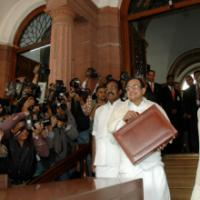 The Union Finance Minister, Shri P. Chidambaram posing for photojournalist on his arrival at the Parliament House to present the General Budget 2008-09, in New Delhi on February 29, 2008. The Minister of State (Revenue) Shri. S.S. Palanimanickam and the Minister of State (E, B&I) Shri Pawan Kumar Bansal are also seen
