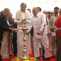 The Union Finance & External Affairs Minister, Shri Pranab Mukherjee lighting the lamp at the foundation stone laying ceremony of the Rajaswa Bhawan, under Department of Revenue, Ministry of Finance, in New Delhi on February 23, 2009. The Union Home Minister, Shri P. Chidambaram, the Union Minister for Urban Development, Shri Jaipal Reddy and the Chief Minister of Delhi, Smt. Sheila Dikshit are also seen