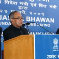 The Union Finance & External Affairs Minister, Shri Pranab Mukherjee addressing at the foundation stone laying ceremony of the Rajaswa Bhawan, under Department of Revenue, Ministry of Finance, in New Delhi on February 23, 2009