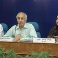 The Secretary, Ministry of Finance, Shri Ashok Chawla addressing a Post Budget Press Conference, in New Delhi on July 06, 2009. The Secretary (Revenue), Ministry of Finance, Shri P.V. Bhide and the Principal Director General (M&C), Press Information Bureau, Smt. Neelam Kapur are also seen