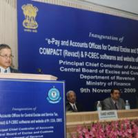 "The Secretary (Revenue), Ministry of Finance, Shri P.V. Bhide addressing at the inauguration of ""e-Pay and Accounts Offices for Central Excise and Service Tax, COMPACT (Revact) & P-CBEC softwares and website of Pr. CCA, CBEC, in New Delhi on November 09, 2009"