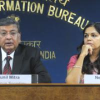 The Secretary, Deptt. of Revenue, Ministry of Finance, Shri Sunil Mitra briefing the press about the various aspects of Direct Tax Code (DTC) Bill 2010, in New Delhi on August 30, 2010.  The Principal Director General (M&C), Press Information Bureau, Smt. Neelam Kapur is also seen