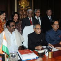 The Union Finance Minister, Shri Pranab Mukherjee giving final touches to the General Budget 2011-12, in New Delhi on February 27, 2011. The Minister of State (Revenue), Shri. S.S. Palanimanickam, the Minister of State (EB&I), Shri Namo Narain Meena and the Secretaries of the Ministry are also seen