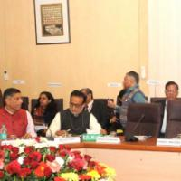 The Minister of State for Finance, Shri Jayant Sinha holding the first pre-Budget Meeting with the representatives of different Agriculture Groups, in New Delhi on January 04, 2016. The Secretary, Revenue, Dr. Hasmukh Adhia and the Chief Economic Adviser (CEA), Dr. Arvind Subramanian are also seen
