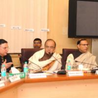 The Union Minister for Finance, Corporate Affairs and Information & Broadcasting, Shri Arun Jaitley chairing the Pre-Budget Meeting with Trade Unions Group, in New Delhi on January 04, 2016. The Minister of State for Finance, Shri Jayant Sinha, the Finance Secretary, Shri Ratan P. Watal, the Secretary, Department of Economic Affairs, Shri Shaktikanta Das and the Secretary, Revenue, Dr. Hasmukh Adhia are also seen