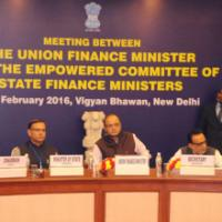 The Union Minister for Finance, Corporate Affairs and Information & Broadcasting, Shri Arun Jaitley at a meeting of the Empowered Committee of State Finance Ministers, in New Delhi on February 19, 2016. The Minister of State for Finance, Shri Jayant Sinha, the Secretary, Revenue, Dr. Hasmukh Adhia and other dignitaries are also seen