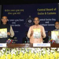 The Union Minister for Finance, Corporate Affairs and Information & Broadcasting, Shri Arun Jaitley releasing a book at the Investiture Ceremony 2016 and Annual Central Excise Custom Day function, organised by the Central Board of Excise and Customs (CBEC), in New Delhi on February 24, 2016. The Minister of State for Finance, Shri Jayant Sinha and the Secretary, Revenue, Dr. Hasmukh Adhia are also seen