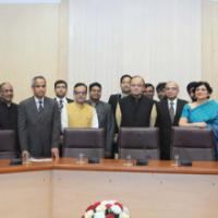 The Union Minister for Finance, Corporate Affairs and Information & Broadcasting, Shri Arun Jaitley with the members of the Economic Division who assisted in the preparation of Economic Survey, in New Delhi on February 25, 2016. The Secretary, Revenue, Dr. Hasmukh Adhia and senior officers of Revenue department are also seen