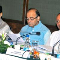 The Union Minister for Finance, Corporate Affairs and Information & Broadcasting, Shri Arun Jaitley at the meeting of the Empowered Committee on GST, in Kolkata on June 14, 2016. The Minister of Finance, Excise, Commerce & Industries, Public Enterprises and Industrial Reconstruction, West Bengal, Shri Amit Mitra and the Secretary, Revenue, Dr. Hasmukh Adhia are also seen