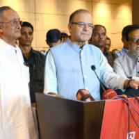 The Union Minister for Finance, Corporate Affairs and Information & Broadcasting, Shri Arun Jaitley briefing the media on the meeting of the Empowered Committee on GST, in Kolkata on June 14, 2016. The Minister of Finance, Excise, Commerce & Industries, Public Enterprises and Industrial Reconstruction, West Bengal, Shri Amit Mitra and the Secretary, Revenue, Dr. Hasmukh Adhia are also seen