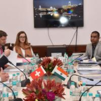 The Secretary, Department of Revenue, Dr. Hasmukh Adhia in a meeting with the State Secretary for International Financial Matters of Switzerland, Mr. Jacques De Wattaville, in New Delhi on June 15, 2016