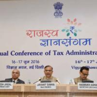 The Minister of State for Finance, Shri Jayant Sinha briefing the media after the inaugural session of the 'Rajasv Gyan Sangam', the Annual Conference of Tax Administrators 2016, in New Delhi on June 16, 2016. The Secretary, Department of Revenue, Dr. Hasmukh Adhia and other dignitaries are also seen
