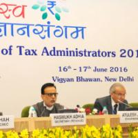 The Revenue Secretary, Dr. Hasmukh Adhia along with the Chairman, CBDT, Shri Atulesh Jindal and the Chairman, CBEC, Shri Najib Shah addressing a Press Conference after the conclusion of the 'Rajasv Gyan Sangam', the Annual Conference of Tax Administrators 2016, in New Delhi on June 17, 2016